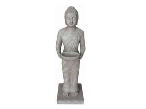 Indisch Boeddhabeeld staand grijs 100cm met offerschaal