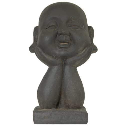 Boeddha hoofd beeld in meditatie houding grijs 53cm