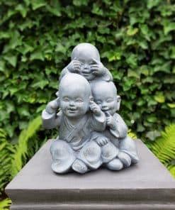 Horen zien zwijgen shaolin monnikbeelden grijs 36 cm