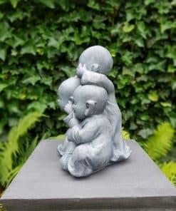 Horen zien zwijgen monnikbeelden Shaolin grijs 36 cm hoogte