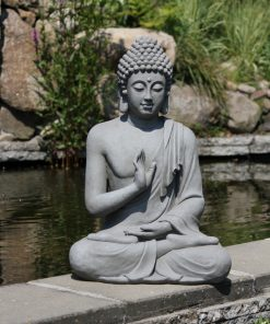 Zittend-boeddha-tuinbeeld-grijs-60cm